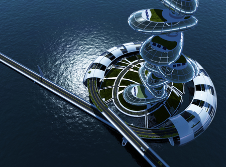 Skyscraper on the water.3d render