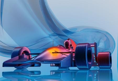 파란색 background.3d 렌더링에 자동차 경주