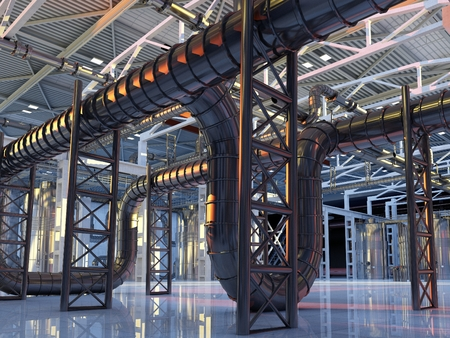 metal structure: The interior of the plant.3d render