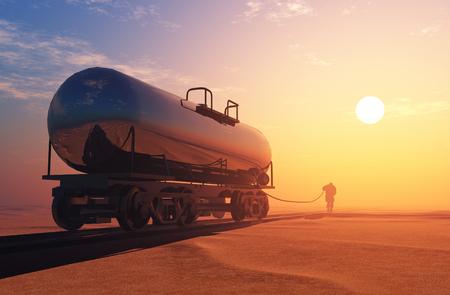 heavy industry: The fuel tank in the desert.,3D render
