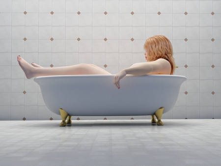 Thick woman in bath.,3d render