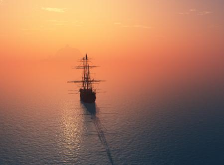 Vintage żaglowe w morzu na sunset.3d renderowania