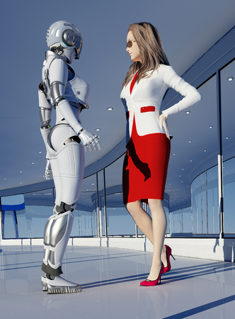 Robot and woman in the office.,3d render Stock Photo