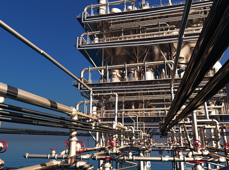 oil and gas industry: Exterior of the plant.,3d render