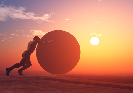 A man is rolling a large ball..,3d render