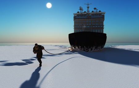 The man pulls the ship. ,3d render Stock Photo