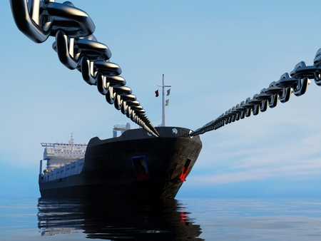 The tanker is on a chain..  .3d render
