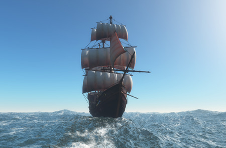 Ship with sails in the sea. 3d render