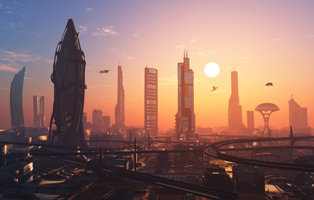 A fantastic city from the future. 3d render