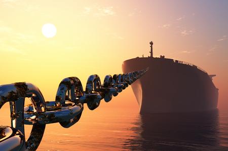 Der Tanker ist an einer Kette. 3d render Standard-Bild