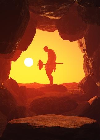De primitieve man in de grot. 3d render Stockfoto
