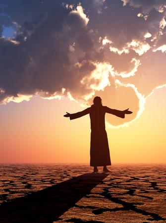 Jesus in the desert. 3d render