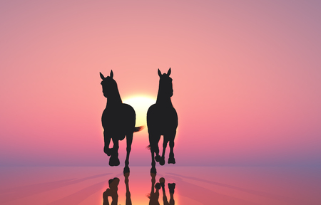 Horses gallop against a horse's gallop against a pink background. 3d render