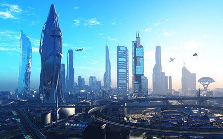 Future City on the coast. 3d render
