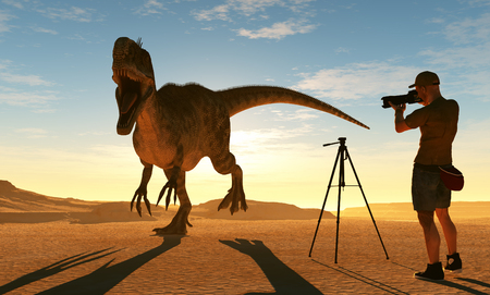 Silhouettes of photographer and dinosaur at sunset. 3d render