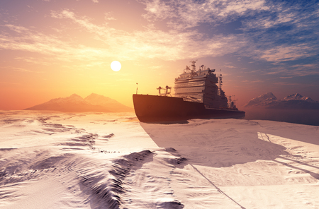 Icebreaker ship on the ice in the sea. 3d render