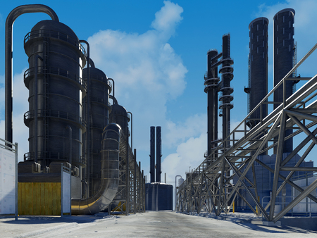 Tubes of factory in the sky, 3d render