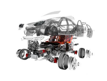 Détails de la voiture sur fond blanc, rendu 3D