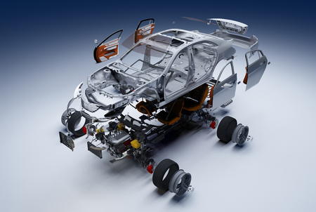 Details of the car on a white background 3D render