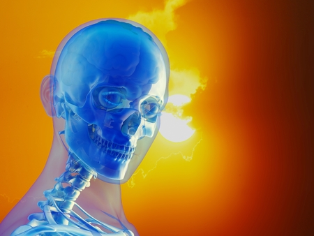 A human skull against the sky 3d render Stock Photo