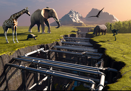 Animals are above the fault of the earth., 3d render