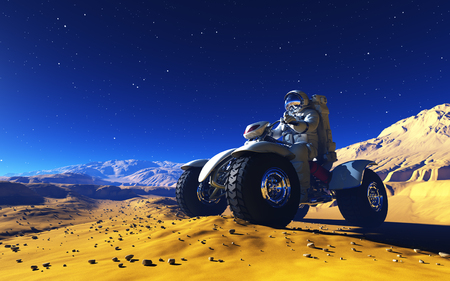 Space transport on the planet.,3d render Stock Photo