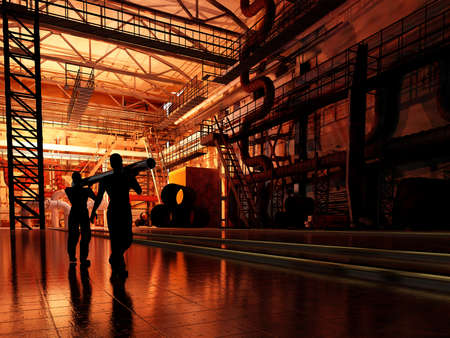 Silhouettes of workers at the factory.,3d render