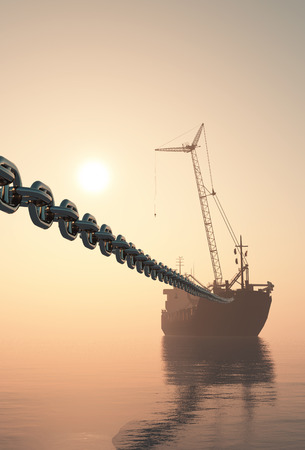 The tanker is on a chain. 3d render