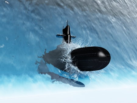 The submarine is in the wave. .3d render