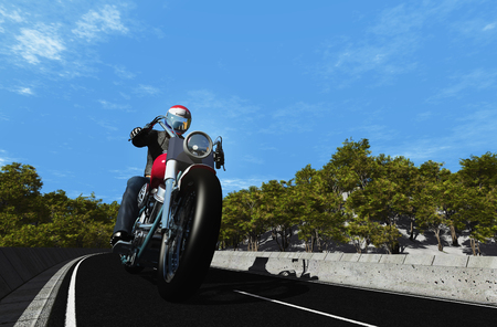 Motorcyclist on the highway.,3d render