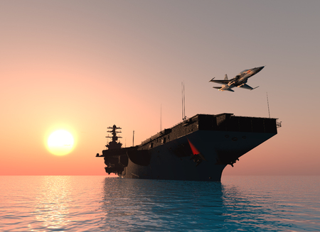 A warship and an airplane on the sea. ,3d render Stock fotó - 108944039