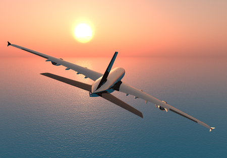 The plane over the sea.,3d render 版權商用圖片