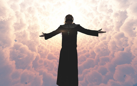Jesus is in the clouds.3d render Stock Photo