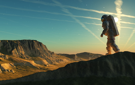 The astronaut on the background of the planet, 3d render