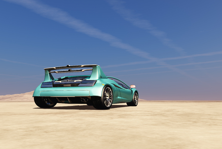 Sports car in the desert. 3d render