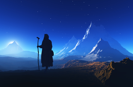 Priester fromm auf dem Berg.3d render
