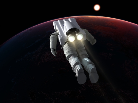 Astronaut with a jet engine., 3d render