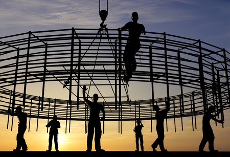 The group of workers working at a construction site.,3d render