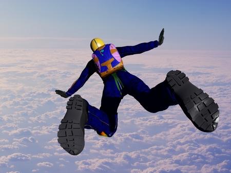 Parashutist against the blue sky.,3d render