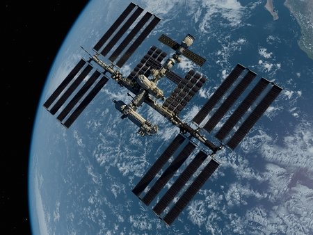 Space station in outer space 3d render