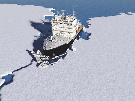 Barco rompehielos en el hielo en el mar., Render 3d