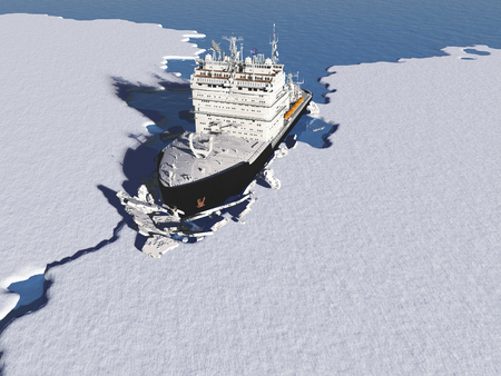 Icebreaker ship on the ice in the sea.,3d render Imagens