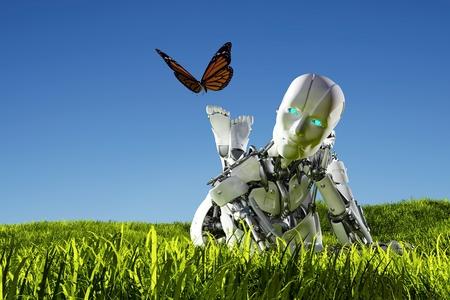 Robot en vlinder op het gras. 3D render Stockfoto