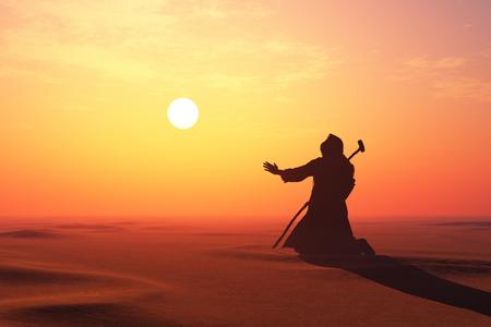 Jezus in de woestijn., 3d render Stockfoto
