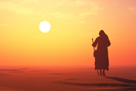 Jesus in the desert.,3d render