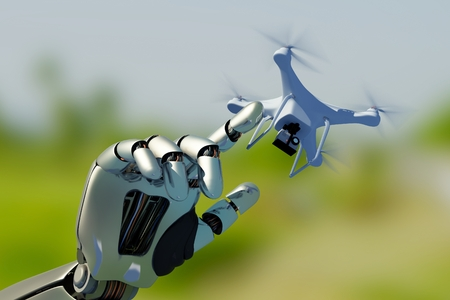 Robot hand with drone..3d render