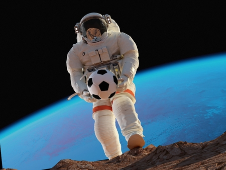 Astronaut with a ball on the background of the Earth., 3d render