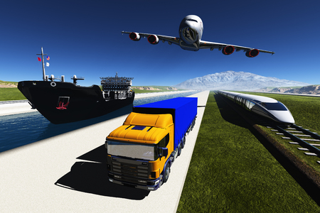 Train, airplane and tanker on the shore.,3d render