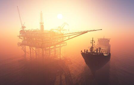 El petrolero está en el mar., 3D Render
