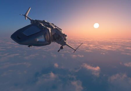 Space transport on a background of the sky ,3d render 免版税图像